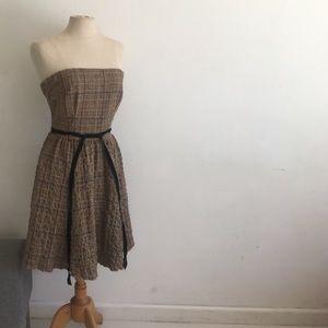 Anthropologie Corey Lynn Carter plaid brown dress